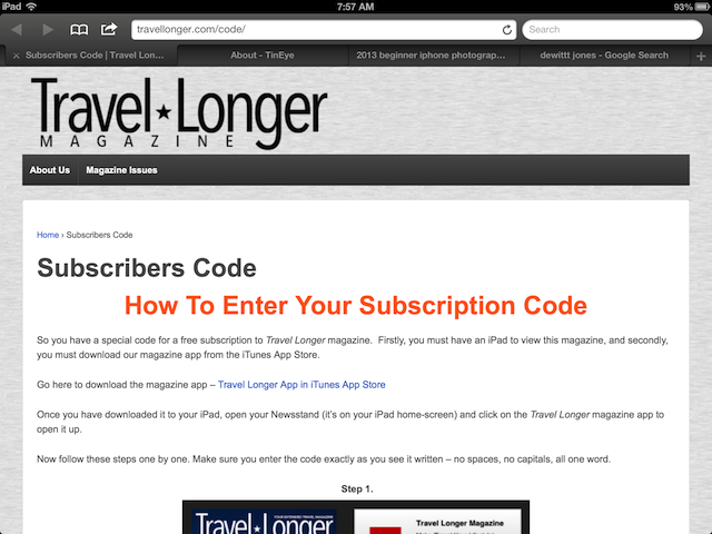johima travel longer ipad magazine code