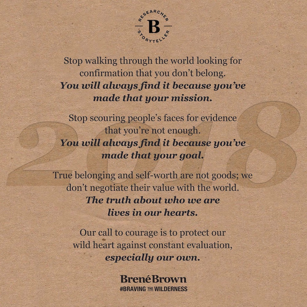 Brene Brown quote says stop walking through the world looking for confirmation that you don't belong